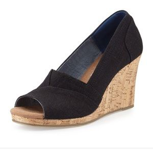 Toms Black Emma canvas open toe wedge sandal